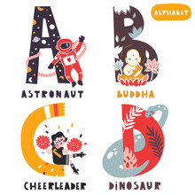A To D. Hand Drawn Letters Of English Alphabet. Vector Illustrations. All Elements Are Isolated