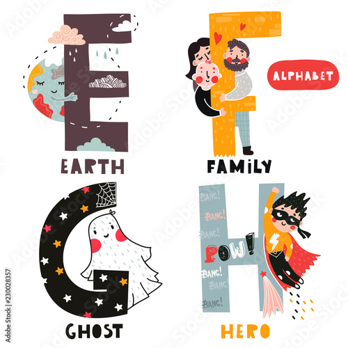 E to H. Hand drawn letters of english alphabet. Vector illustrations. All elements are isolated