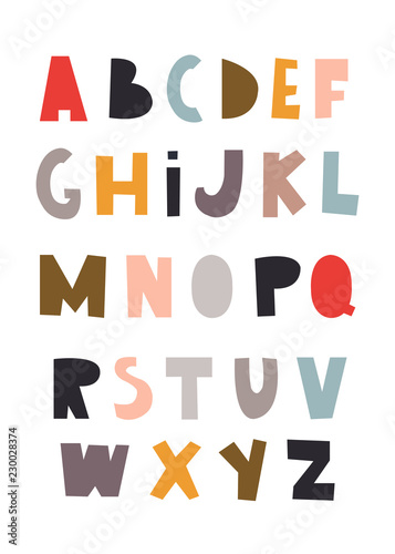 Scandinavian style colorful alphabet Canvas Print