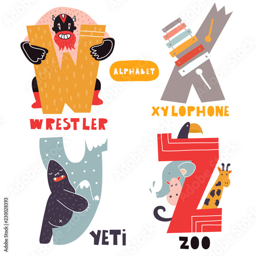 W to Z. Hand drawn letters of english alphabet. Vector illustrations. All elements are isolated