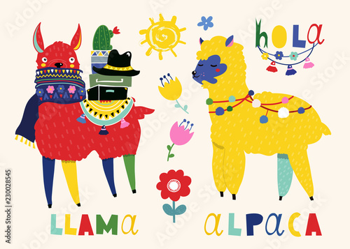 Llama and alpaca. Cute vector illustration. All elements are isolated