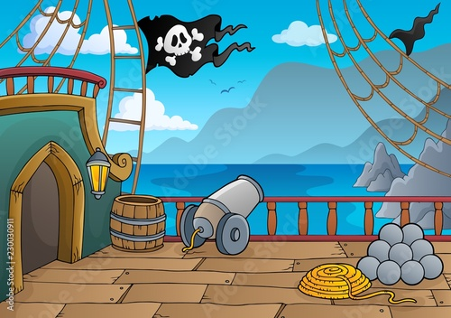 Tuinposter Voor kinderen Pirate ship deck topic 4