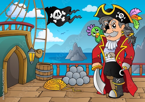 Tuinposter Voor kinderen Pirate ship deck topic 5