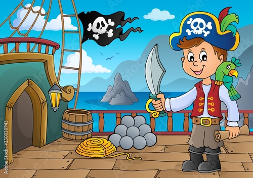 Tuinposter Voor kinderen Pirate ship deck topic 6