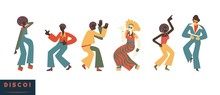 Disco Dancing People Vector Il...
