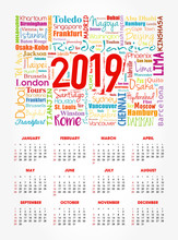 Calendar For 2019 Year, Travel Cities Word Cloud Collage, Trip Destinations Concept Background