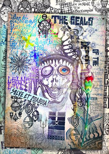 Poster de jardin Imagination Misteriosi collage con Joker,schizzi,manoscritti,disegni,simboli esoterici, astrologici e alchemici