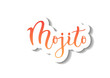 Modern calligraphy lettering of Mojito in red orange gradient with white outline and shadow on white background for bar menu, cocktail menu, advertisement, cafe, restaurant, packaging, flyer, sticker