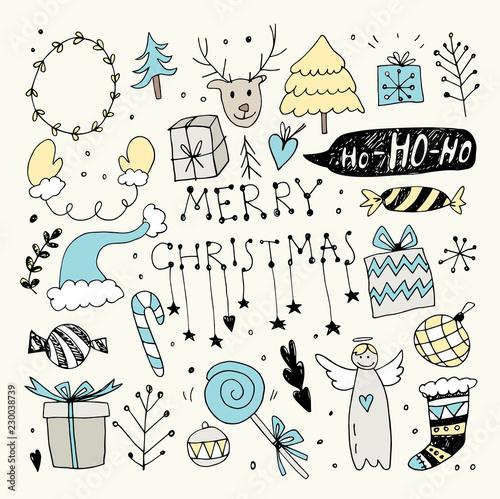In de dag Boho Stijl Christmas Doodle Collection. Hand Drawn Vector Illustration