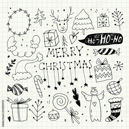 In de dag Boho Stijl Christmas Doodle Collection. Vector Illustration. Pencil Drawing. Hand Drawn, Hand Lettering.