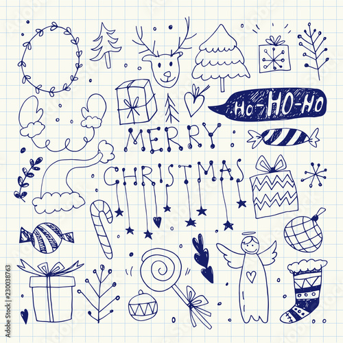 In de dag Boho Stijl Christmas Doodle Collection. Vector Illustration. Pen Drawing. Hand Drawn, Hand Lettering.