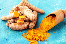 Turmeric Powder And Fresh Turm...