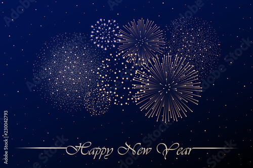 firework show on blue night sky background new year concept congratulations or invitation card