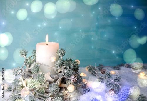 Weihnachtskarte - Adventskerze weiß / türkis