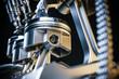 canvas print picture Engine pistons. Crankshaft mechanism. 3d render concept.