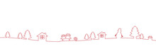 Red Christmas Border Decoration Line Drawing