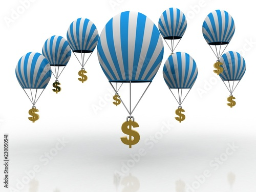 3d rendering Dollar symbol flying parachute