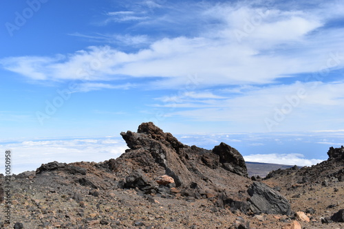 Beautiful scenery over the clouds from the big famous volcano Pico del Teide in Tenerife, Europe