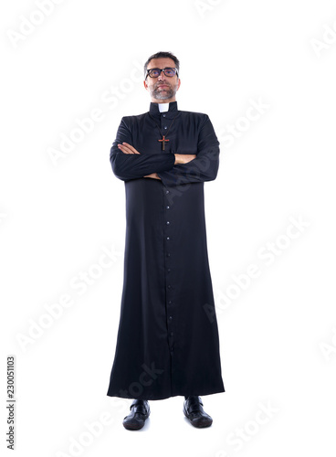 Full length priest crossed arms with soutane Fototapet