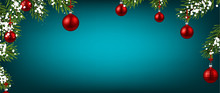 Blue Christmas And New Year Background With Red Christmas Balls.