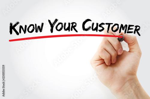 Obraz na plátně KYC - Know Your Customer acronym, business concept background