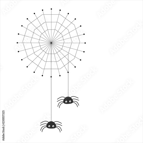 Simple vector of a spider web with two spiders hanging from threads Wallpaper Mural