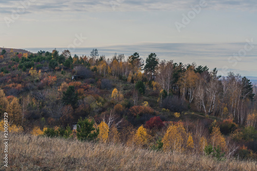 Staande foto Bleke violet Autumn mountain forest landscape with roads and rivers