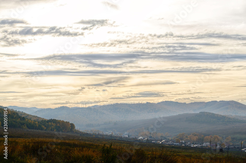 Spoed Foto op Canvas Beige Autumn mountain forest landscape with roads and rivers