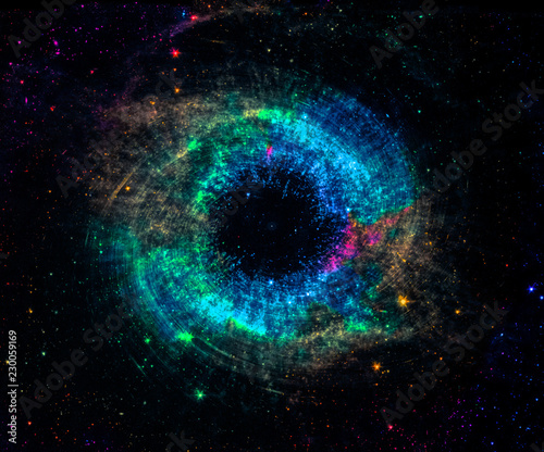 Black hole over colorful star field in outer space. Abstract space wallpaper. Universe filled with stars. Elements of this image furnished by NASA.