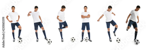 Set with teenage African-American boy playing football on white background