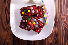 Fudgy Candy Bar Brownies On Plate