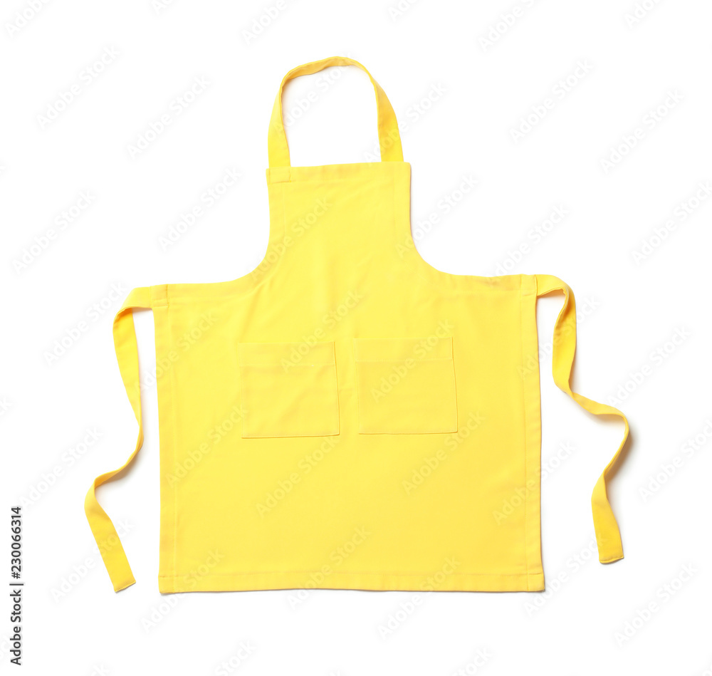 Fototapeta Yellow chef's apron on white background, top view