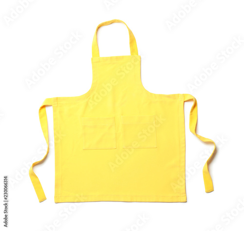Foto Yellow chef's apron on white background, top view