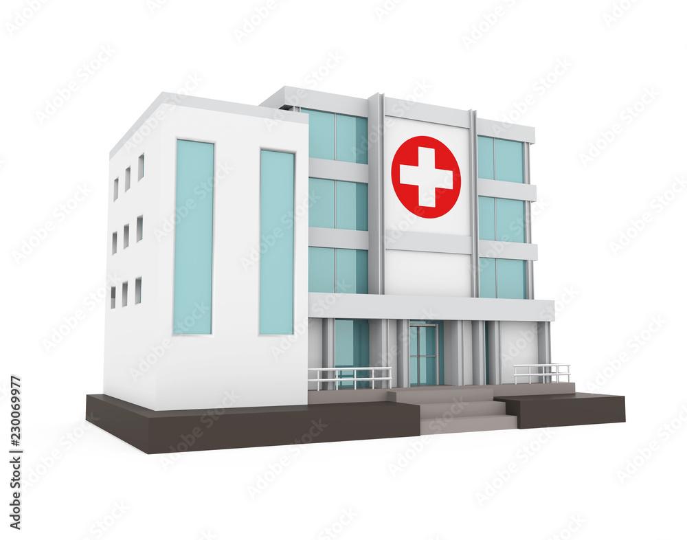Fototapeta Hospital Building Isolated