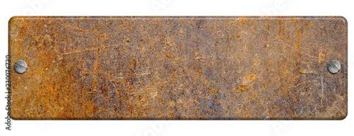 Fotografie, Obraz Rusty metal plate with screws on white background