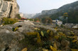 The view of the city of Bakhchisaray and the surrounding cliffs, Crimea.