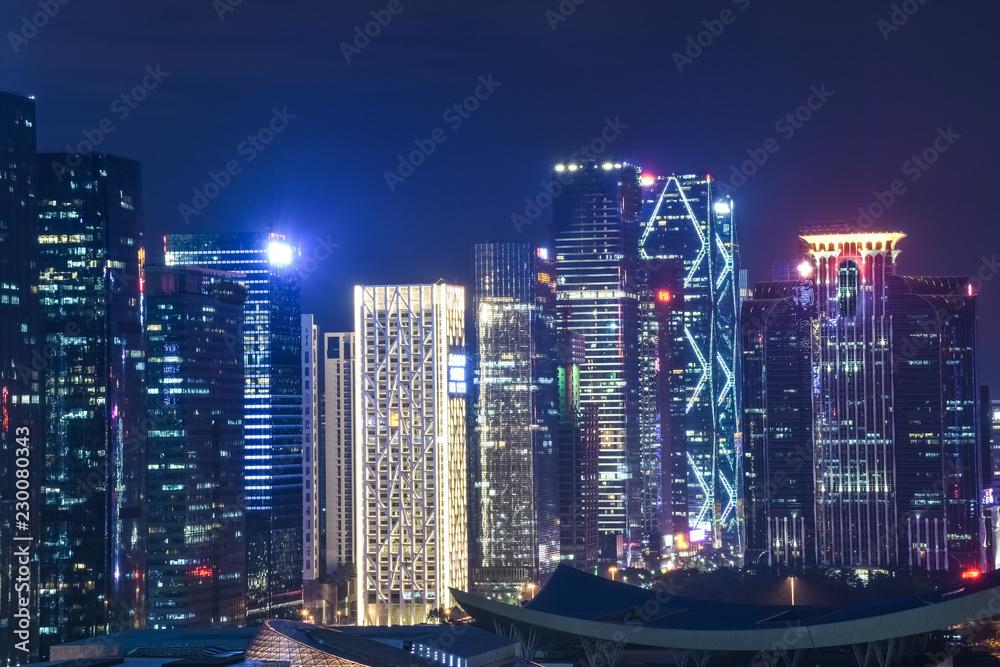 SHENZHEN, CHINA, DECEMBER 21 2017: Modern skyline of Shenzhen by night