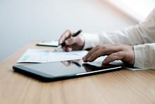 Auditor Or Internal Revenue Service Staff, Business Women Checking Annual Financial Statements Of Company. Audit Concept