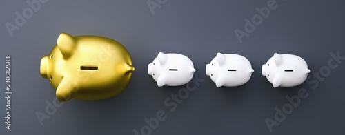 Fotografia  golden piggy bank as row leader, investment and development concept image
