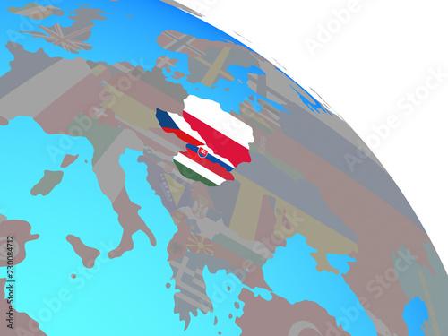 Türaufkleber Künstlich Visegrad Group with national flags on simple blue political globe.