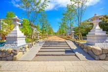 The Dankazura Way On Wakamiya-Oji Avenue At The Pathway Flanked By Cherry Trees That From The Tsurugaoka Hachiman Shinto Sanctuary Leads To The Beach Of Kamakura In Japan. Beautiful Spring Season.