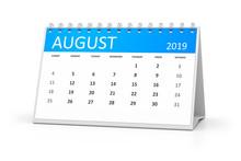 Table Calendar 2019 August