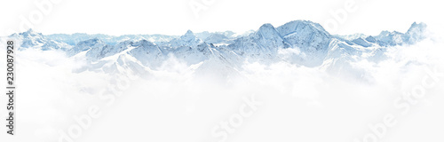 Poster White Panorama of winter mountains in Caucasus region,Elbrus mountain,