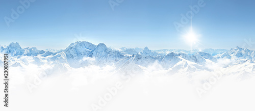 Panorama of winter mountains in Caucasus region,Elbrus mountain,