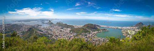 Panoramic aerial view of Rio de Janeiro with Sugar Loaf Mountain and Rodrigo de Freitas Lagoon - Rio de Janeiro, Brazil
