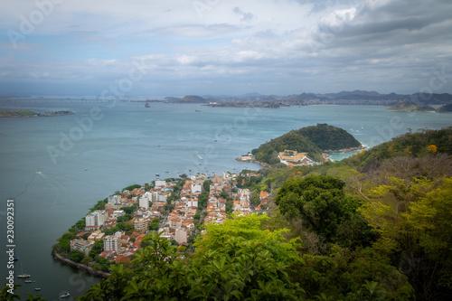 Aerial view of Guanabara Bay, Urca and Sao Joao Fortress - Rio de Janeiro, Brazil