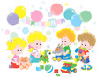 Small children playing colorful soft toys in their playroom, vector illustration in a cartoon style