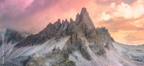 Fototapeta Mountain ridge view of Tre Cime di Lavaredo, South Tirol, Dolomites Italien Alps obraz