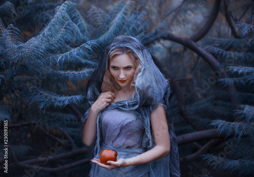 cunning witch with blond curly hair and hate in her eyes, in an old ragged linen dress with a hood , holds a poisoned scarlet apple in her hand and carries it to her enemy to kill him Wallpaper Mural