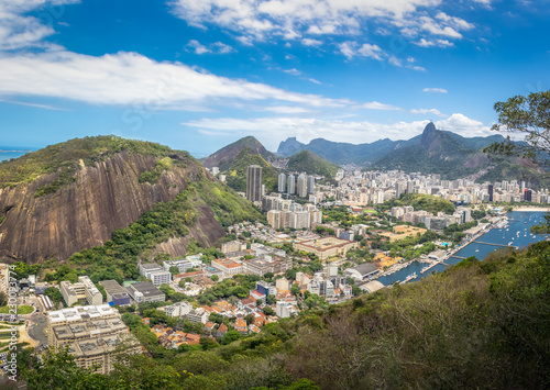 Aerial view of Rio de Janeiro with Babilonia Hill and Corcovado Mountain - Rio de Janeiro, Brazil